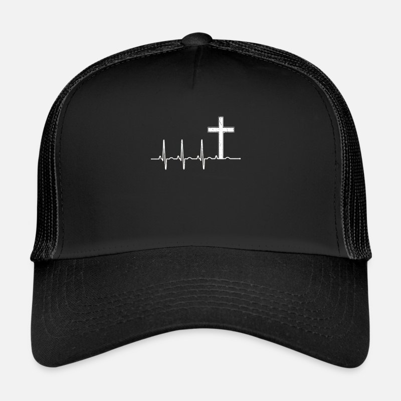 Christian Caps & Hats - Christian Cross - Heartbeat - Church - Sunday - Trucker Cap black/black