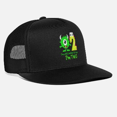 Bursdag FUNNY 2ND BIRTHDAY MONSTER DESIGN - Trucker cap