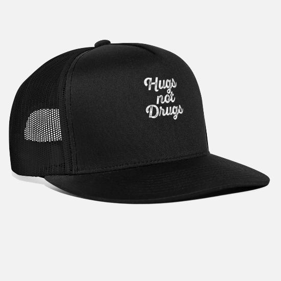 Drug Free Caps & Hats - Hugs Not Drugs - Against Drugs - Drug Free - Trucker Cap black/black
