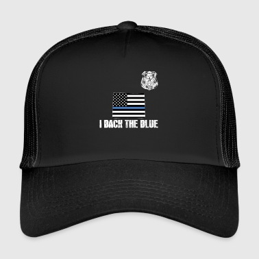 Apreciación de la policía de Wyoming Thin Blue Line I Back The Blue - Gorra de camionero