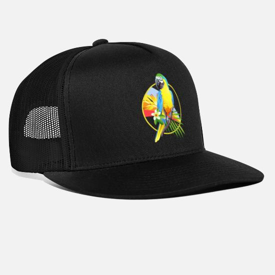 Rainforest Caps & Hats - Parrot bird rainforest jungle gift - Trucker Cap black/black