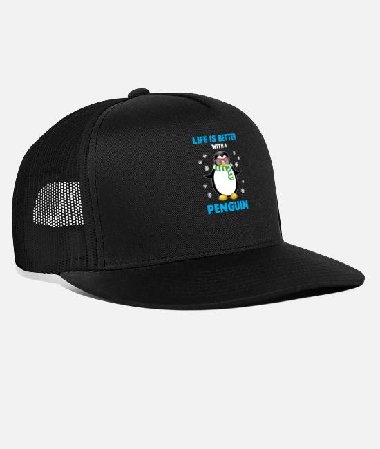 Sunglasses Caps & Hats - Life is better with a penguin cute penguin saying - Trucker Cap black/black
