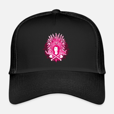 Indian Inidaner Frau Rosa Rosa Chief Feather Jewellery - Trucker Cap