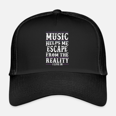 Music Music helps me - Music Love - Music Quote - Trucker Cap