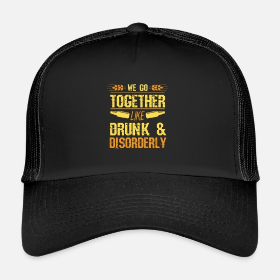 Drinking Caps & Hats - Funny party couple shirt Valentine's Day gift - Trucker Cap black/black