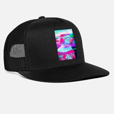 Greek Statue Glitch Effect Aesthetic Greek Statue. Vaporwave - Trucker Cap