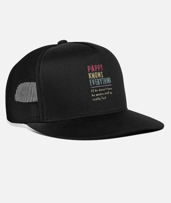 Father's Day Caps & Hats - Pappy Know Everything Grandpa Gift - Trucker Cap black/black
