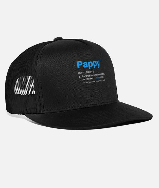Father's Day Caps & Hats - Pappy Gifts Grandpa Fathers Day Definition - Trucker Cap black/black