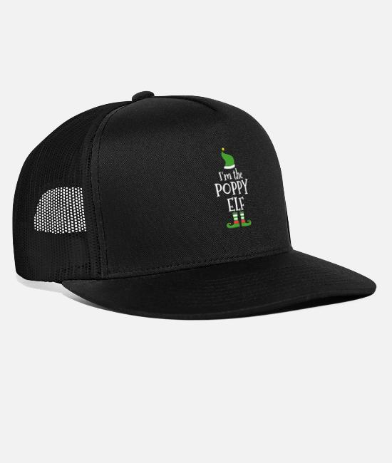 Father's Day Caps & Hats - Poppy Elf T Shirt for Matching Family Group - Trucker Cap black/black