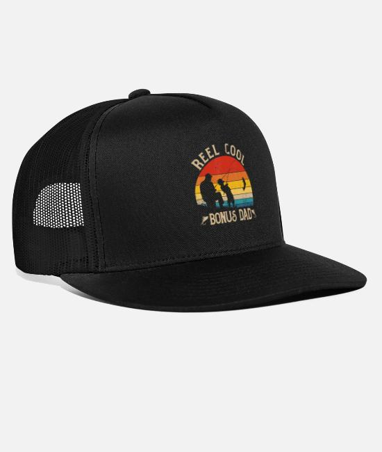 Father's Day Caps & Hats - Reel Cool Bonus Dad Shirt Fishing Fathers Day - Trucker Cap black/black