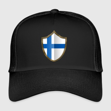 Finland Flag Coat of Arms Gold 016 - Trucker Cap