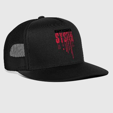 cool blood drops graffiti stamp spray fuck the - Trucker Cap