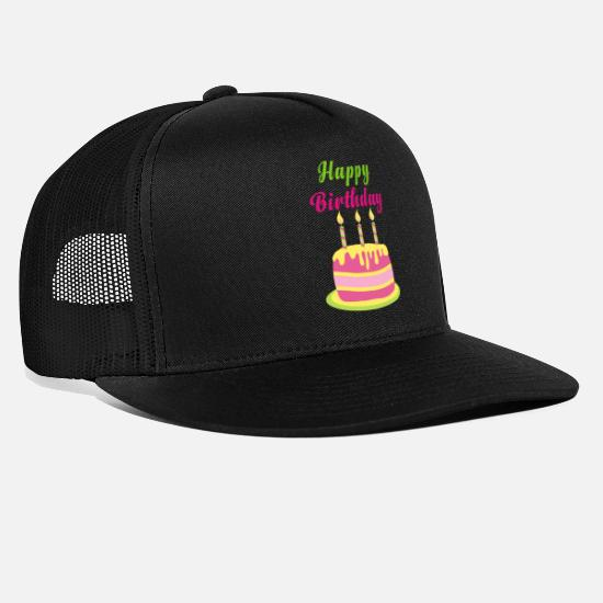 Cookie Caps & Hats - Happy birthday party celebration cake candle - Trucker Cap black/black