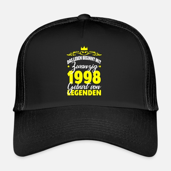 Birthday Caps & Hats - 1998 life begins with 20 birthday gift idea - Trucker Cap black/black