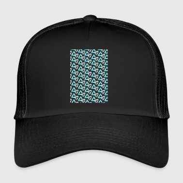Black Light light blue and black triangles - Trucker Cap