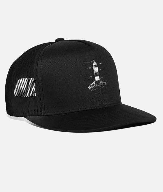 East Frisia Caps & Hats - Moin Löppt lighthouse Northern German saying design - Trucker Cap black/black