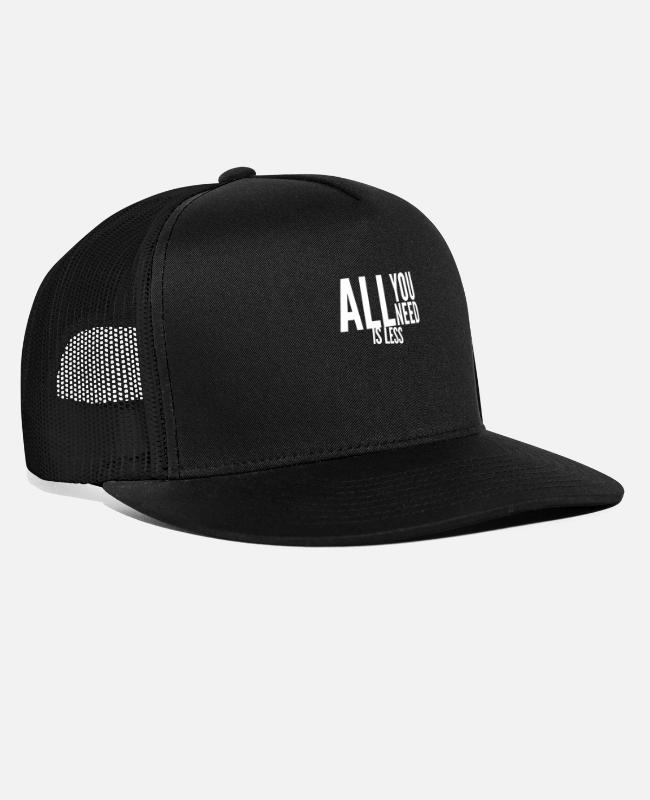 White Caps & Hats - i don't need much in life - Trucker Cap black/black