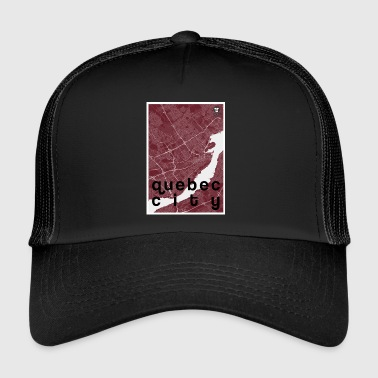 Quebec City hipster city map red - Trucker Cap