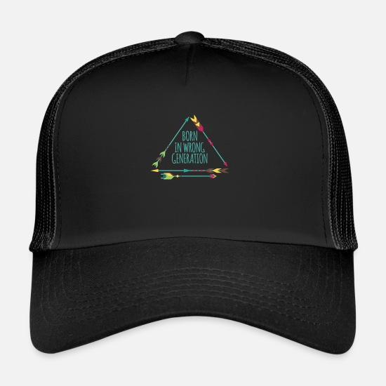 Love Caps & Hats - Hippie / Hippies: Born in wrong generation - Trucker Cap black/black