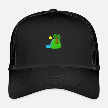 Waterfall nature trees landscape gift idea - Trucker Cap