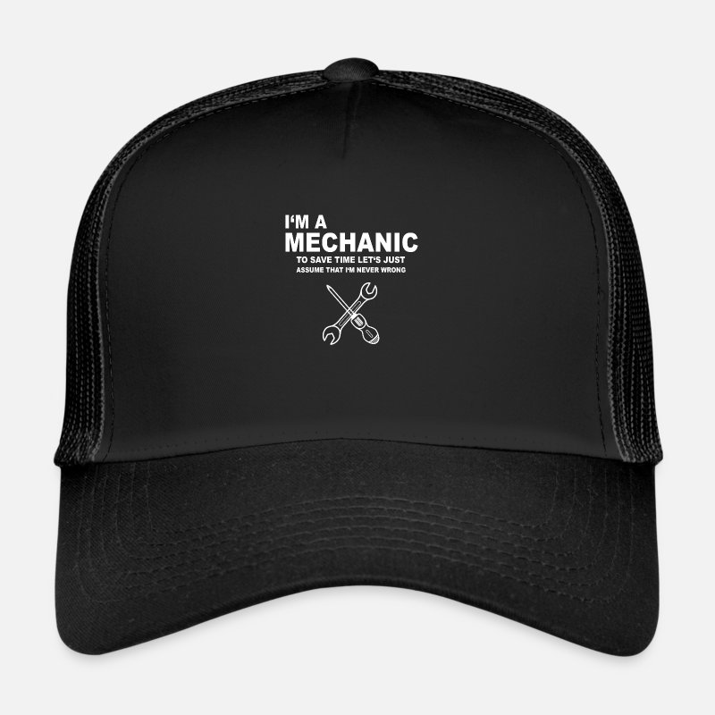 Mechanical Caps & Hats - Mechanic mechanic mechatronic gift idea - Trucker Cap black/black