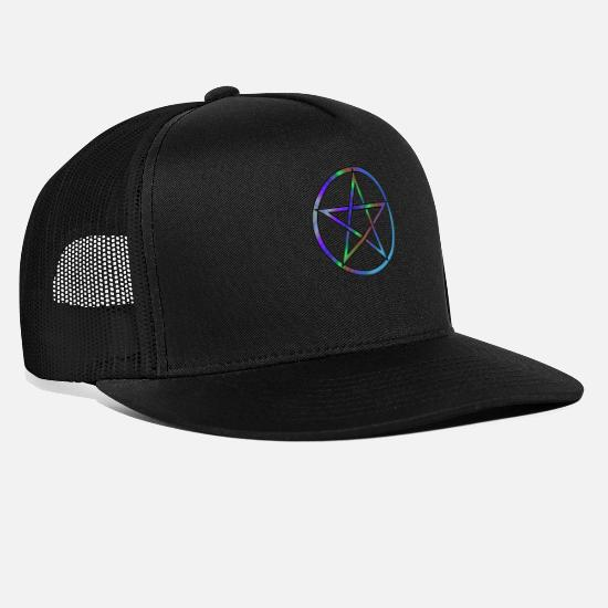 Wicca Caps & Hats - Colourful Pentagram Design - Trucker Cap black/black