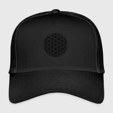 Geometry Circle flower sacred geometry black - Trucker Cap