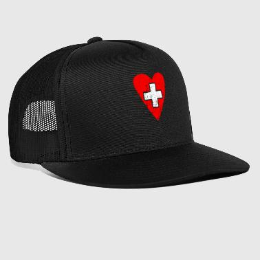Heart with swiss flag and cross red-white - Trucker Cap
