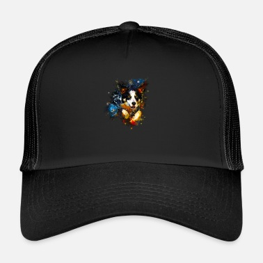 Border Collie gxp border collie jumps in the water watercolor - Trucker Cap