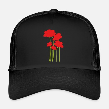 Poppy flower red flower meadow - Trucker Cap