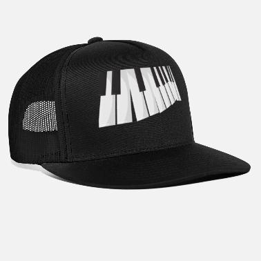 Some perspective of the piano in black and white - Trucker Cap