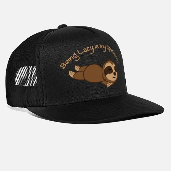 Sleep Caps & Hats - Being sloth Lazy is my specialty - Trucker Cap black/black