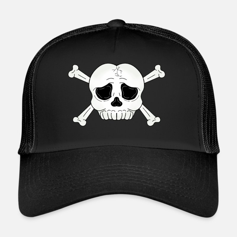 Skull Caps & Hats - skull cross bones - Trucker Cap black/black