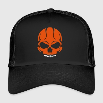 scary skull halloween drawing crane 2800 - Trucker Cap
