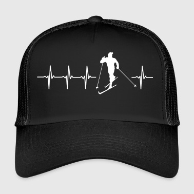 I love cross-country skiing (cross-country skiing heartbeat) - Trucker Cap