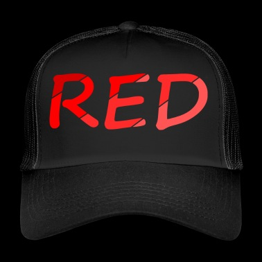 RED / Rouge / Couleur / Dégradé / police / couleur - Trucker Cap