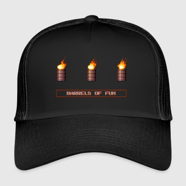 Pixel Flaming Explosive Barrels - Trucker Cap
