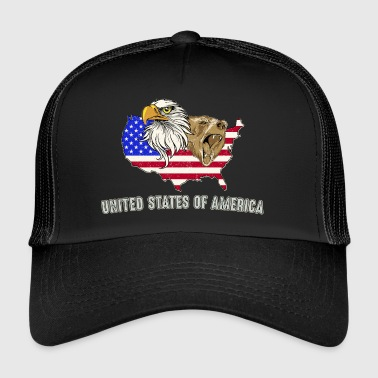USA Adler eagle Grizzly Bear Ameryka - Trucker Cap