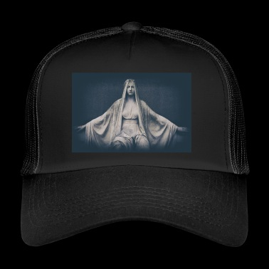 weathered marble statue of a saint - Trucker Cap
