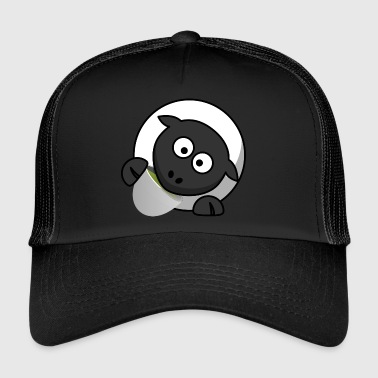 Funny sheep drinking tea comic style - Trucker Cap