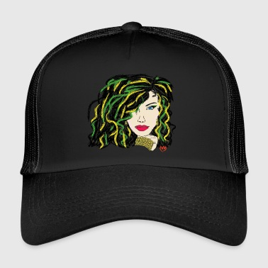 woman - green hair - Trucker Cap