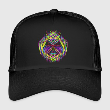 face trippy abstract psychedelic colorful - Trucker Cap