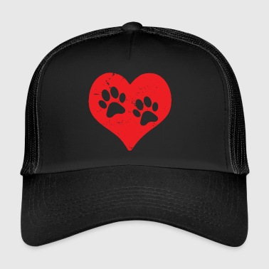 Heart paws dog cat love animal love Miez (red) - Trucker Cap