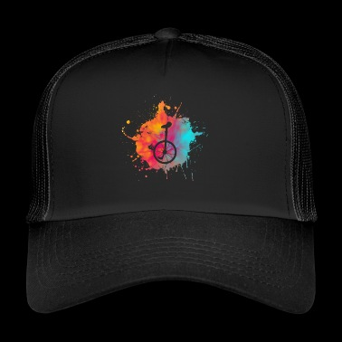 Color speckle unicycle riding gift cycling - Trucker Cap