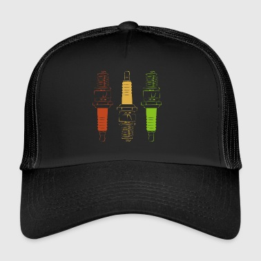 Spark Plugs - Red Yellow Green - Trucker Cap