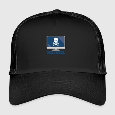Hacker and computer. - Trucker Cap