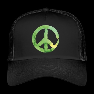 Peace sign - watercolor green - Trucker Cap