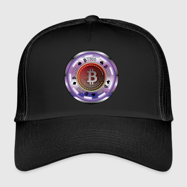 Pokerchip mit Bitcoin - Trucker Cap