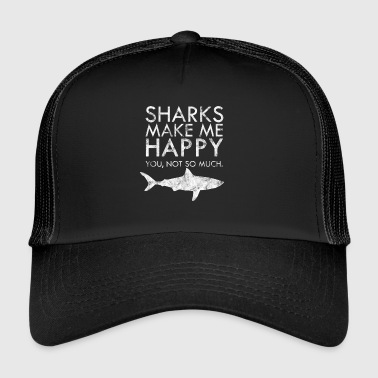 Shark Happiness shark fish biologist gift idea - Trucker Cap