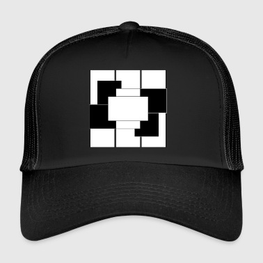 Kaestchen White & Schwartz Abstract + - Trucker Cap